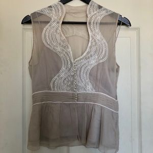 Elie Tahari Lace and Silk Top
